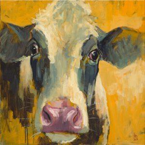 Theo Onnes, koe, 60 x 60 acryl op paneel